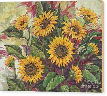 Blazing Sunflowers Wood Print by Paul Brent