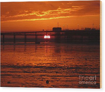 Wood Print featuring the photograph Blazing Sunset by Vicki Spindler