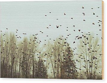 Bleak Mid-winter Wood Print by Rebecca Cozart