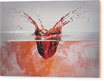 Bleeding Strawberry Wood Print