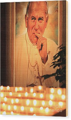 Wood Print featuring the photograph Saint John Paul II by Theresa Ramos-DuVon