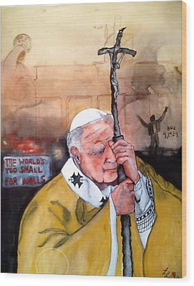 Blessed Pope John Paul II And Collapse Of Berlin Wall Wood Print by Laura LaHaye