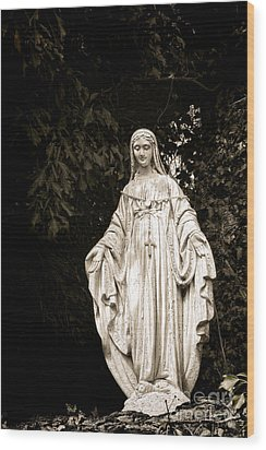 Blessed Virgin Mary Wood Print by Olivier Le Queinec