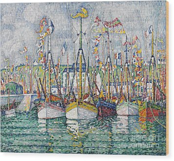 Blessing Of The Tuna Fleet At Groix Wood Print by Paul Signac