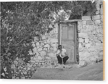 Blind Man And His House Wood Print by Ilker Goksen