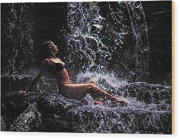 Bliss. Anna At Eureka Waterfalls. Mauritius Wood Print by Jenny Rainbow
