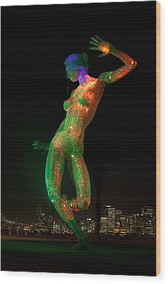 Bliss Dance In Green And Orange Wood Print