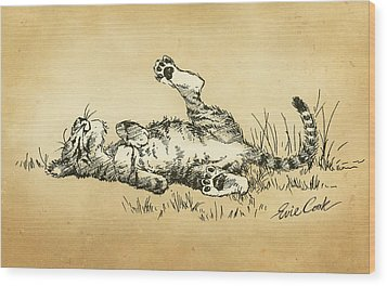 Bliss In The Grass Wood Print by Evie Cook