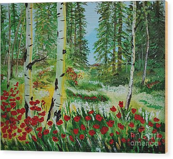 Wood Print featuring the painting Bliss by Leslie Allen