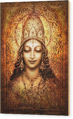 Wood Print featuring the mixed media Blissful Goddess by Ananda Vdovic