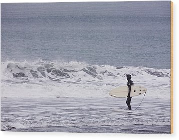 Blizzard Surfing Wood Print by Tim Grams