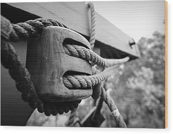Block And Tackle Wood Print by Michael Donahue