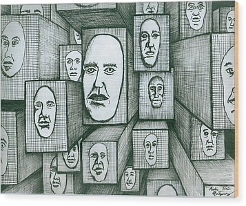Block Head Wood Print by Richie Montgomery