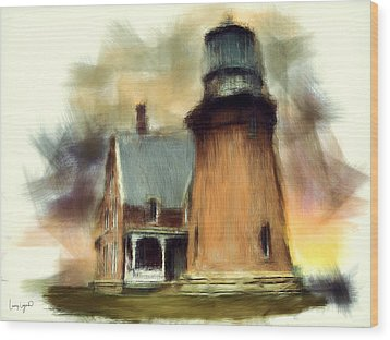 Block Island Light Wood Print by Lourry Legarde