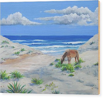 Blonde On The Beach Wood Print by Anne Marie Brown