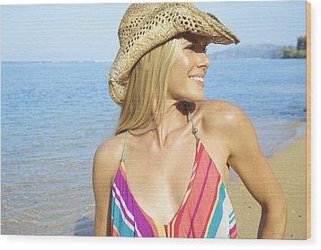Blonde Woman In Hawaii Wood Print by Kicka Witte