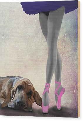 Blood Hound And Ballet Dancer Wood Print by Kelly McLaughlan