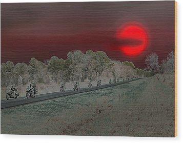 Blood Moon And Speed Wood Print by Nina Fosdick