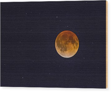 Blood Moon And Stars Wood Print
