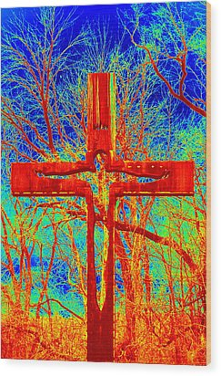 Wood Print featuring the photograph Blood On The Cross by Cathy Shiflett