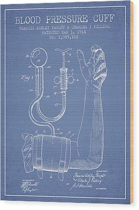 Blood Pressure Cuff Patent From 1914 -light Blue Wood Print by Aged Pixel