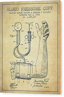 Blood Pressure Cuff Patent From 1914 -vintage Wood Print by Aged Pixel