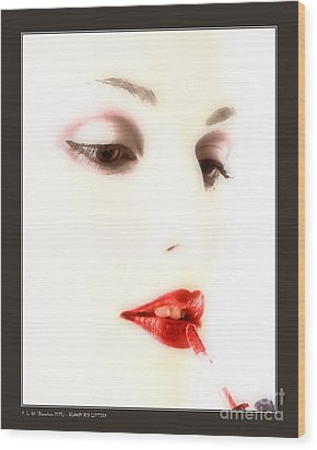 Blood Red Lipstick Wood Print