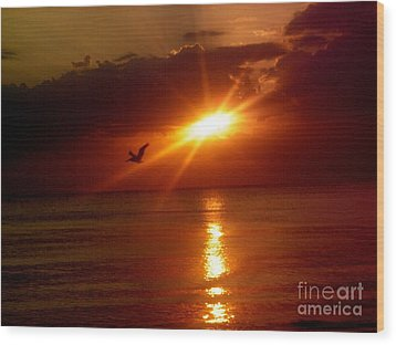 Blood Red Sunset Wood Print by Carla Carson