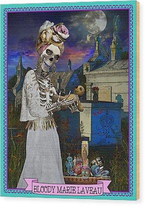 Bloody Marie Laveau Wood Print by Tammy Wetzel