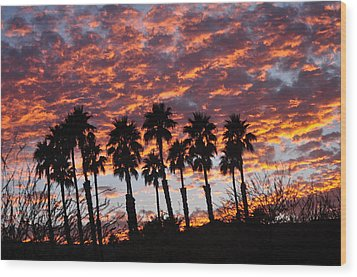 Bloody Sunset Over The Desert Wood Print
