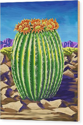 Wood Print featuring the painting Blooming Barrel Cactus by Tim Gilliland