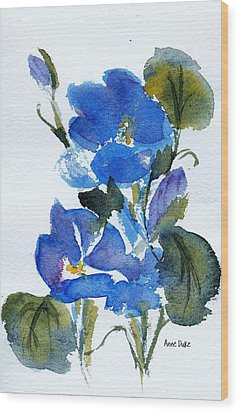 Wood Print featuring the painting Blooming Blue by Anne Duke