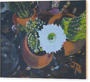 Wood Print featuring the painting Blooming Cacti by Julie Todd-Cundiff
