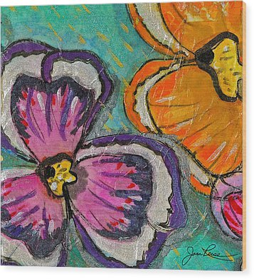 Wood Print featuring the painting Blooming Flowers by Joan Reese