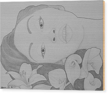 Blooming Girl Lily   Wood Print by Aaron El-Amin