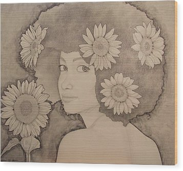 Blooming Girl Sunflower Refined Wood Print