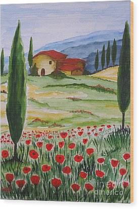 Blooming Poppy In Tuscany Wood Print by Christine Huwer