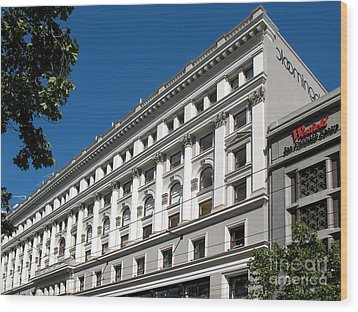 Bloomingdale's - San Francisco Vintage Architecture Wood Print by Connie Fox