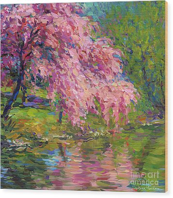 Blossoming Trees Landscape  Wood Print by Svetlana Novikova