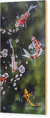Blossoms And Koi Wood Print by Carol Avants