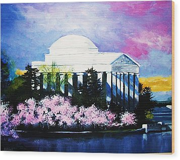 Blossoms At The Jefferson Memorial Wood Print by Al Brown