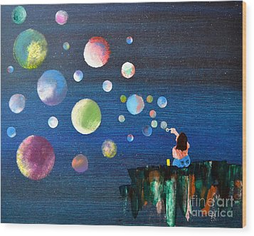 Blowing Bubbles Wood Print by Denise Tomasura