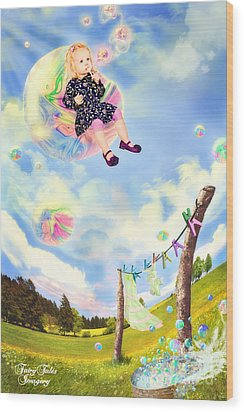 Blowing Bubbles Wood Print by Fairy Tales Imagery Inc