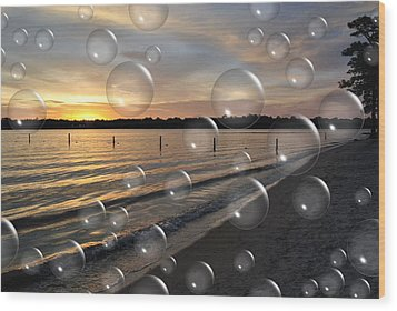 Blowing Bubbles Wood Print by Michele Kaiser