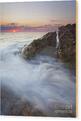 Blowing Rocks Sunrise Wood Print by Mike  Dawson