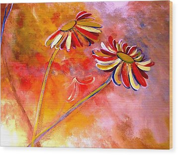 Wood Print featuring the painting Blown Backward Fall Floral by Lisa Kaiser