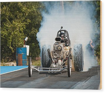 Blown Front Engine Dragster Burnout Wood Print
