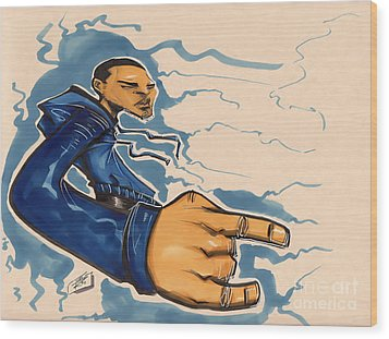 Blu Phi Wood Print by Tu-Kwon Thomas