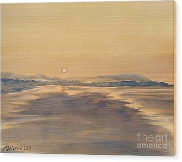 Wood Print featuring the painting Blue Anchor Sunset by Martin Howard