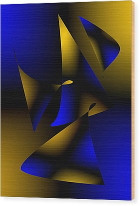 Blue And Brown Abstract Design Wood Print by Mario Perez